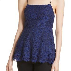 Alice + Olivia Blue Floral Lace Peplum Cami